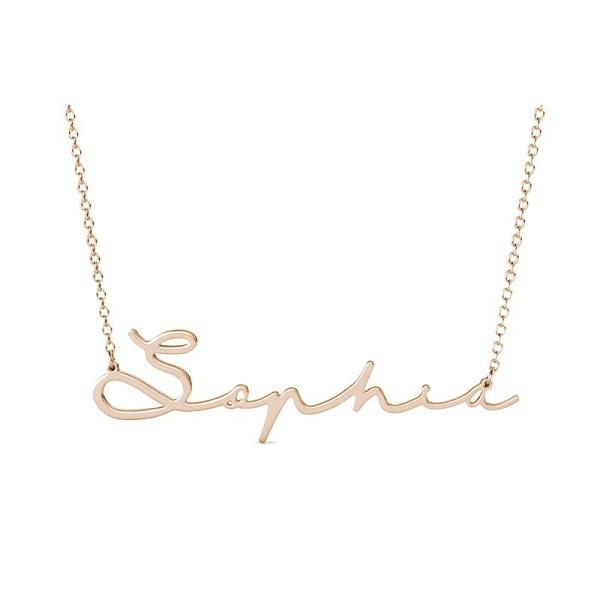 Sophic name necklace personalized rose gold plated