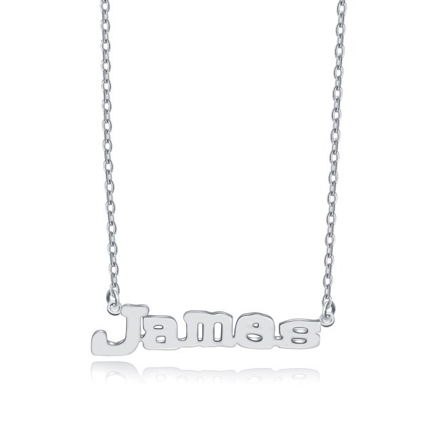 James Style Name Necklace Platinum Plated Copper