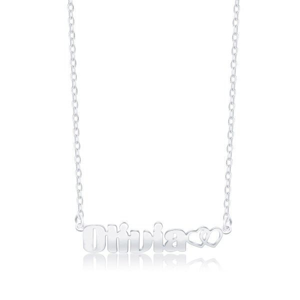 Olivia Style Name Necklace Platinum Plated Copper