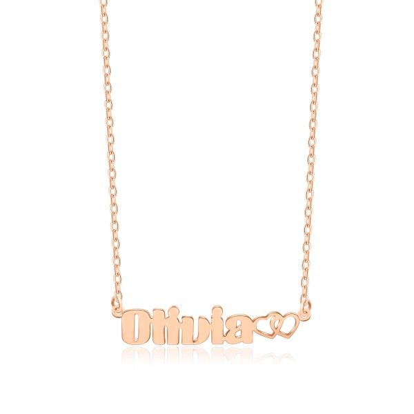 Olivia Style Name Necklace Rose Gold Plated Copper