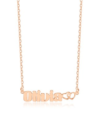 Olivia Style Name Necklace Rose Gold Plated S925