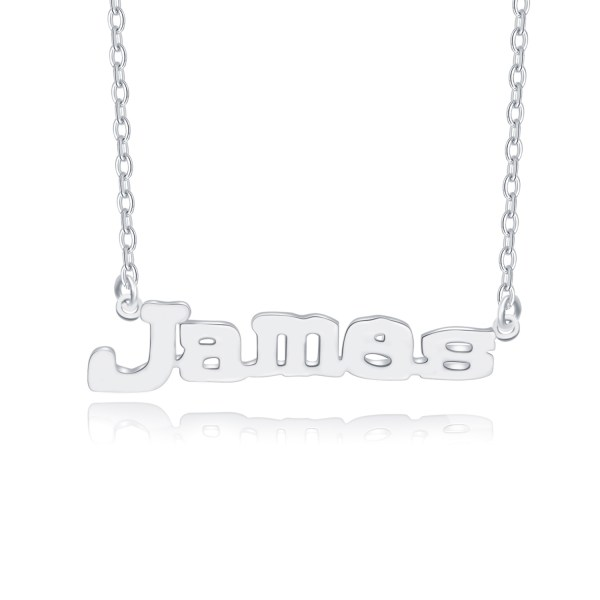 james style name necklace platinum plated