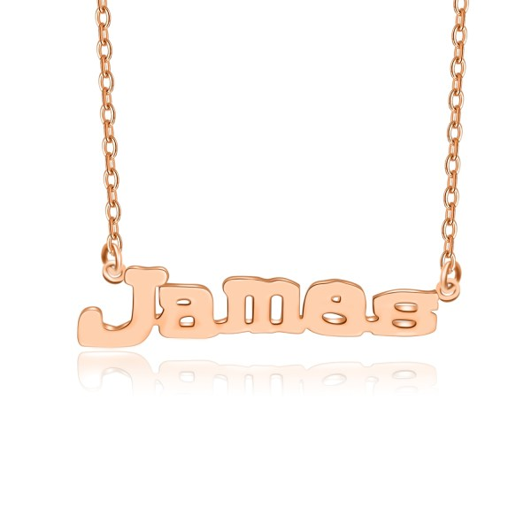 james style name necklace rose gold plated