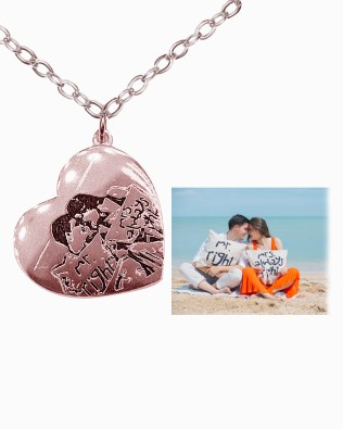 Love Photo Necklace Rose Gold Plated S925
