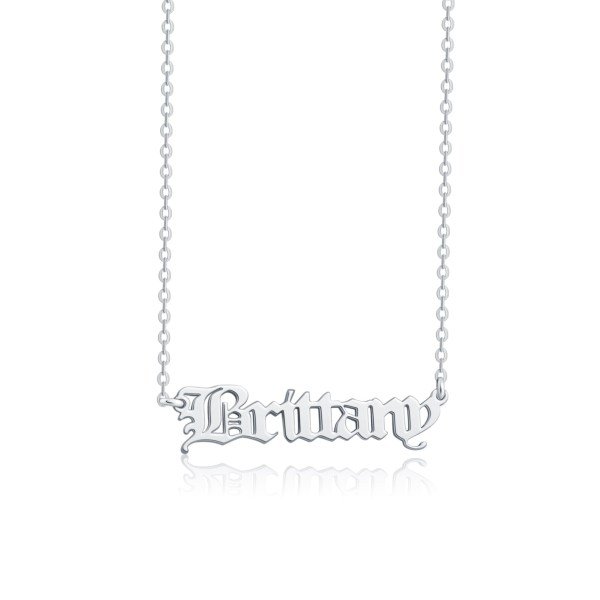 old english name necklace sterling silve platinum plated