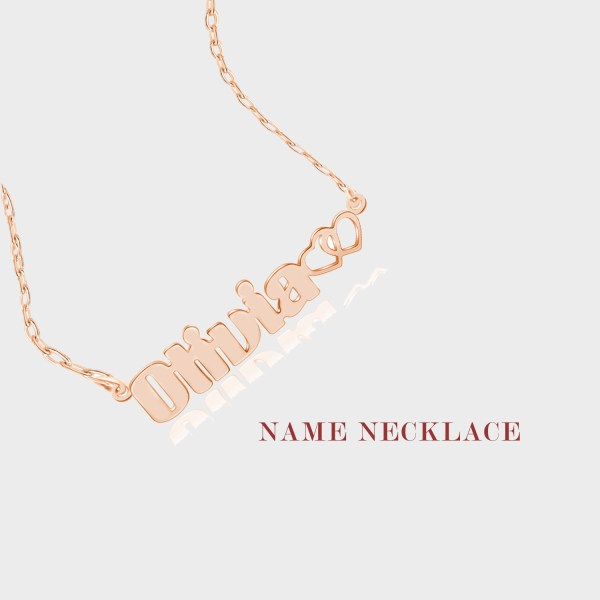 olivia name necklace silver rose gold plated