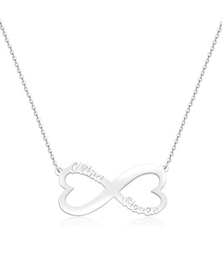 Heart Infinity Name Necklace Platinum Plated Silver