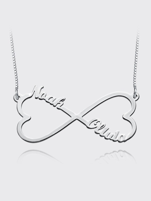 heart infinity name necklace silver