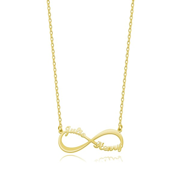 Infinity 2 Name Necklace 18k Gold Plated Silver