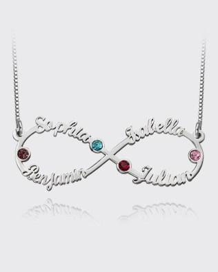 Infinity 4 Name Necklace with Birthstone Platinum Plated Silver