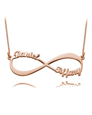 Infinity 2 Name Necklace Rose Gold Plated Silver