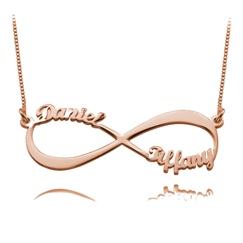 infinity name necklace 2 name silver rose gold plated