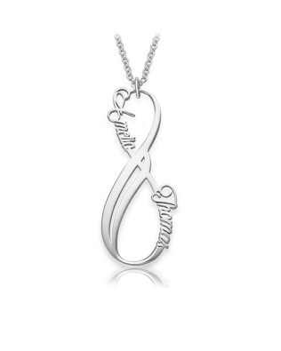 Vertical Infinity Name Necklace Platinum Plated Silver