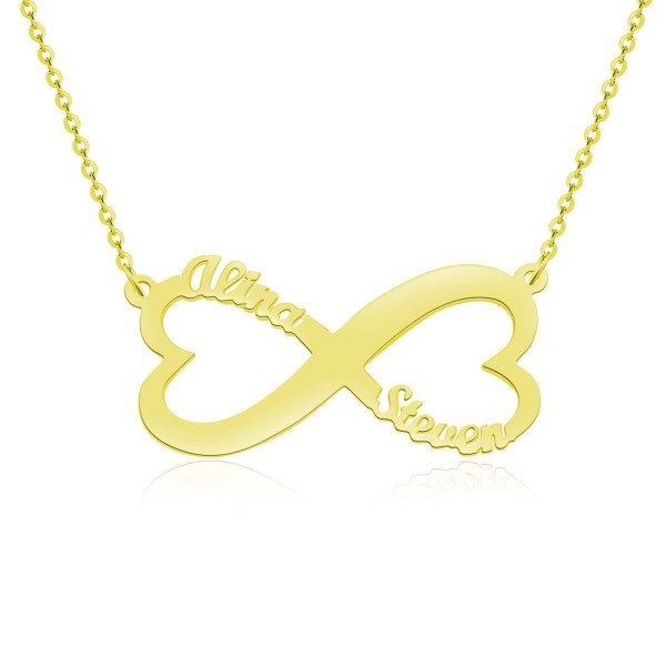 heart infinity name necklace gold