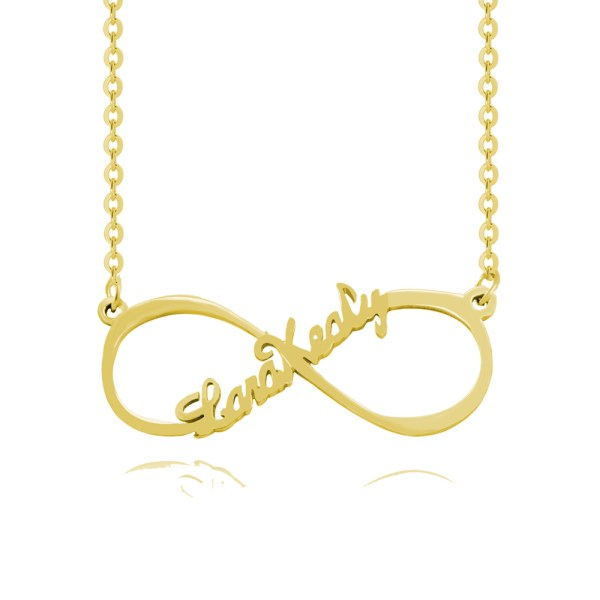 single name infinity name necklace 18k gold plated in silver