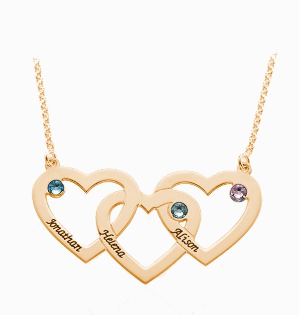 3 heart name neckalce rose gold plated silver