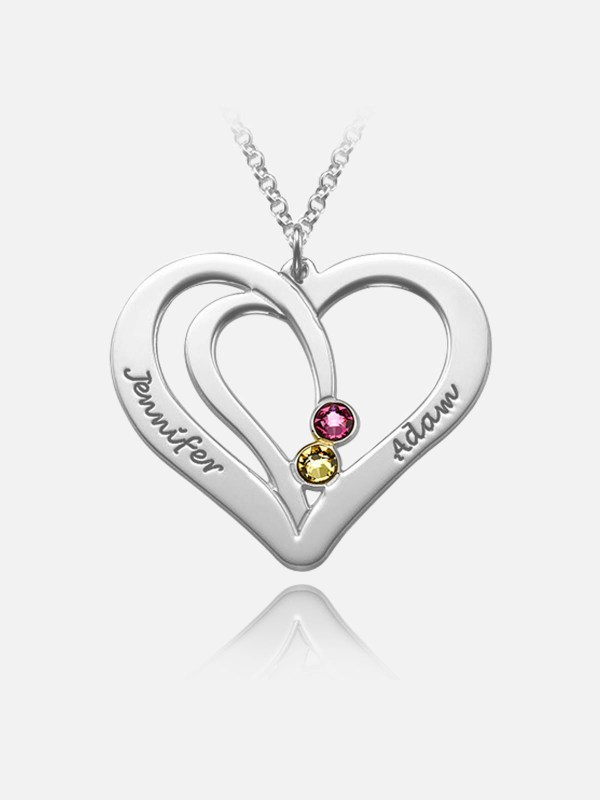 overlapping heart name necklace with birthstone platinum plated silver