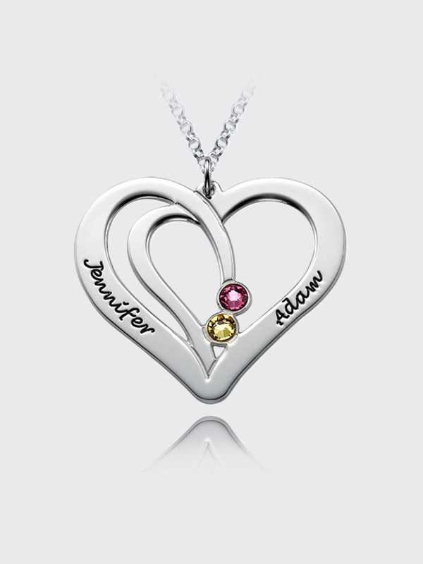 overlapping heart name necklace with birthstone silver