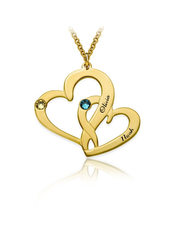 two heart name necklace 18k gold