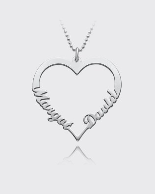 Single Heart Necklace Silver S925 Platinum Plated