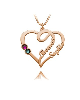 Overlapping Heart Necklace 3 with Birthstones Silver S925