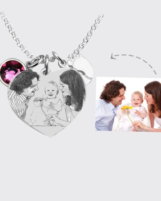 Photo Necklace Silver S925 with Birthstone