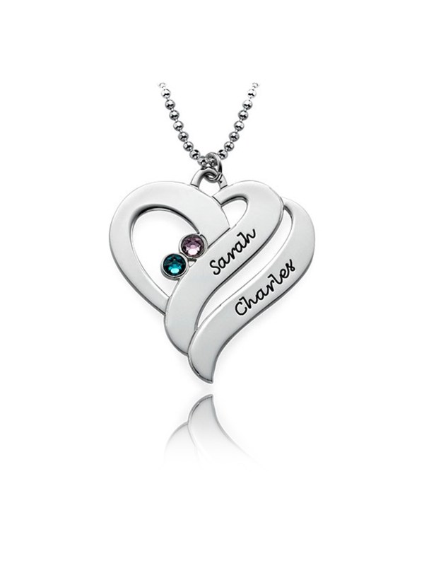 double heart name necklace with birthstone