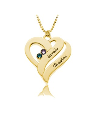 Double Heart Necklace Silver S925 18k Gold Plated