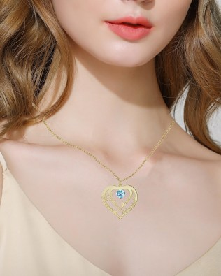 Heart Necklace 4 Name Silver S925 18k Gold Plated