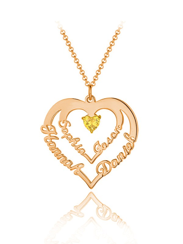 family heart name necklace 4 name rose gold plated sterling silver