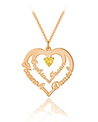 Heart Necklace 4 Name Silver S925 Rose Gold Plated