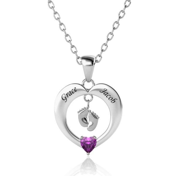 heart feet name necklace silver