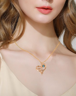 Mom Heart Necklace Silver S925 Rose Gold Plated