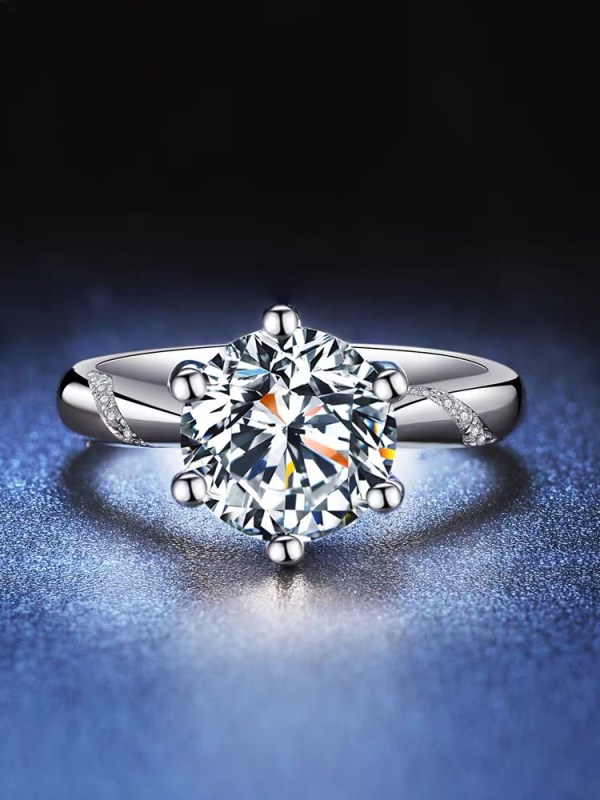 1 carat Moissanite promise wedding ring