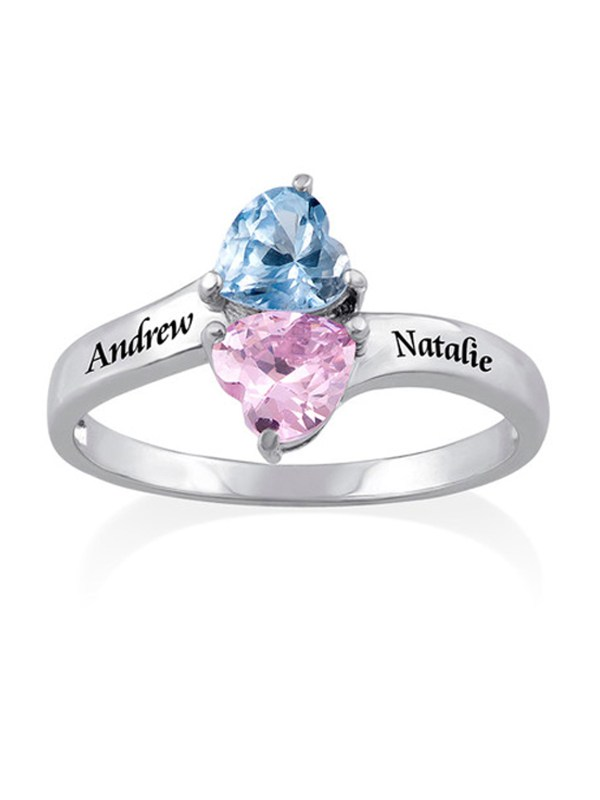 birthstone ring 2 name engraving
