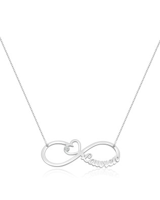Heart Infinity Single Name Necklace Silver