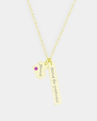 Bar Name Necklace with Birthstone Silver 18k Gold Plated
