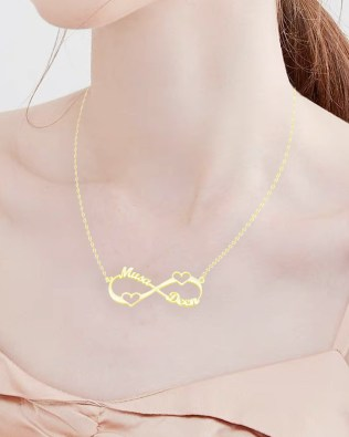 Heart Infinity Name Necklace Gold Plated Silver