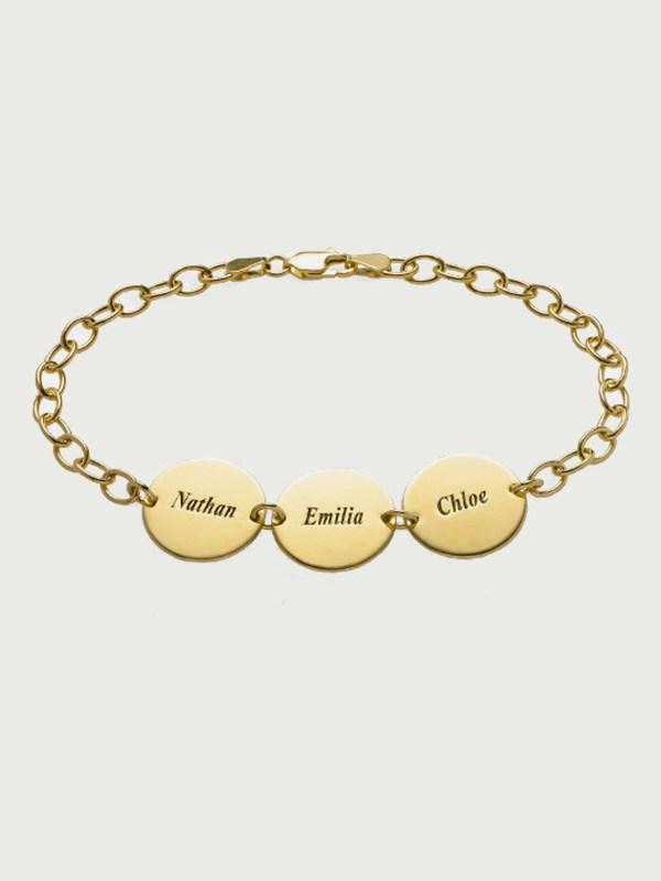 name bracelet engraving inscription 18k gold plated silver