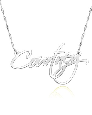 courtney name necklace platinum plated silver