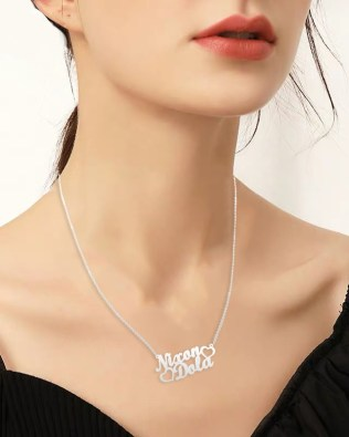 Double Name Necklace Silver