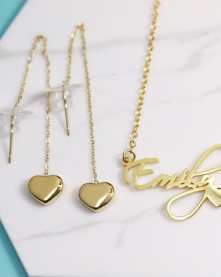 Courtney Name Necklace Silver and Heart Earrings Set