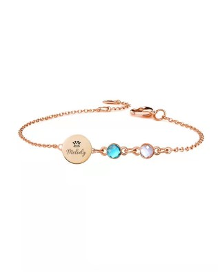 Personalized Dics Name Bracelet with 2 Birthstone Sterling Silver