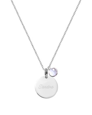 Dics Name Necklace with Birthstone Sterling Silver