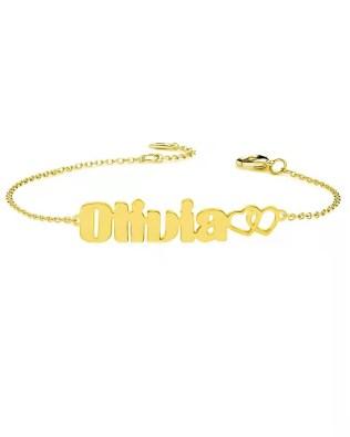 Personalized Olivia Style Name Bracelet Silver