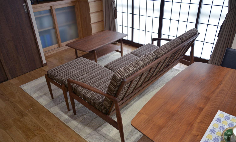 ペーパーナイフソファ/ウォールナット材/宮崎椅子製作所