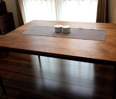 オーダーアイアン脚テーブル/ウォールナット無垢材