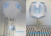 conjunto lampara globo bebe azul topitos