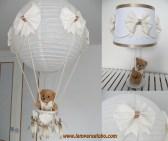 conjunto lampara globo bebe beige topito marron 1