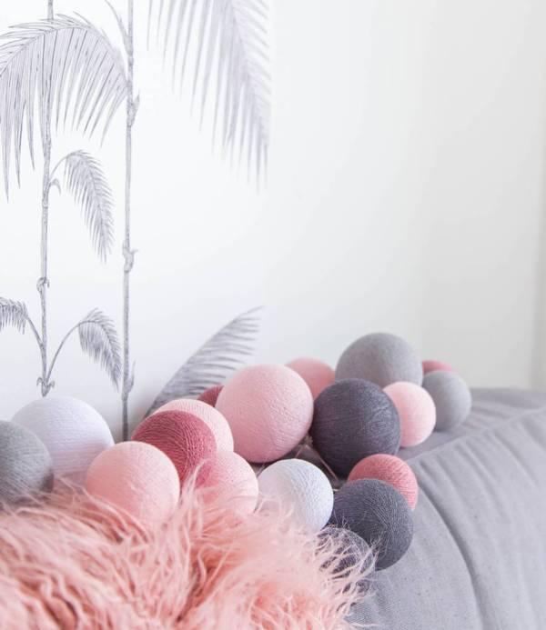 Cotton Ball Lights Premium lichtslinger roze - Perfect Combi